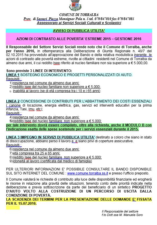 Comune di torralba for Piani di handicap